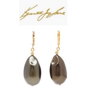 NWT Kenneth Jay Lane Dark Grey Gold Drop Earrings